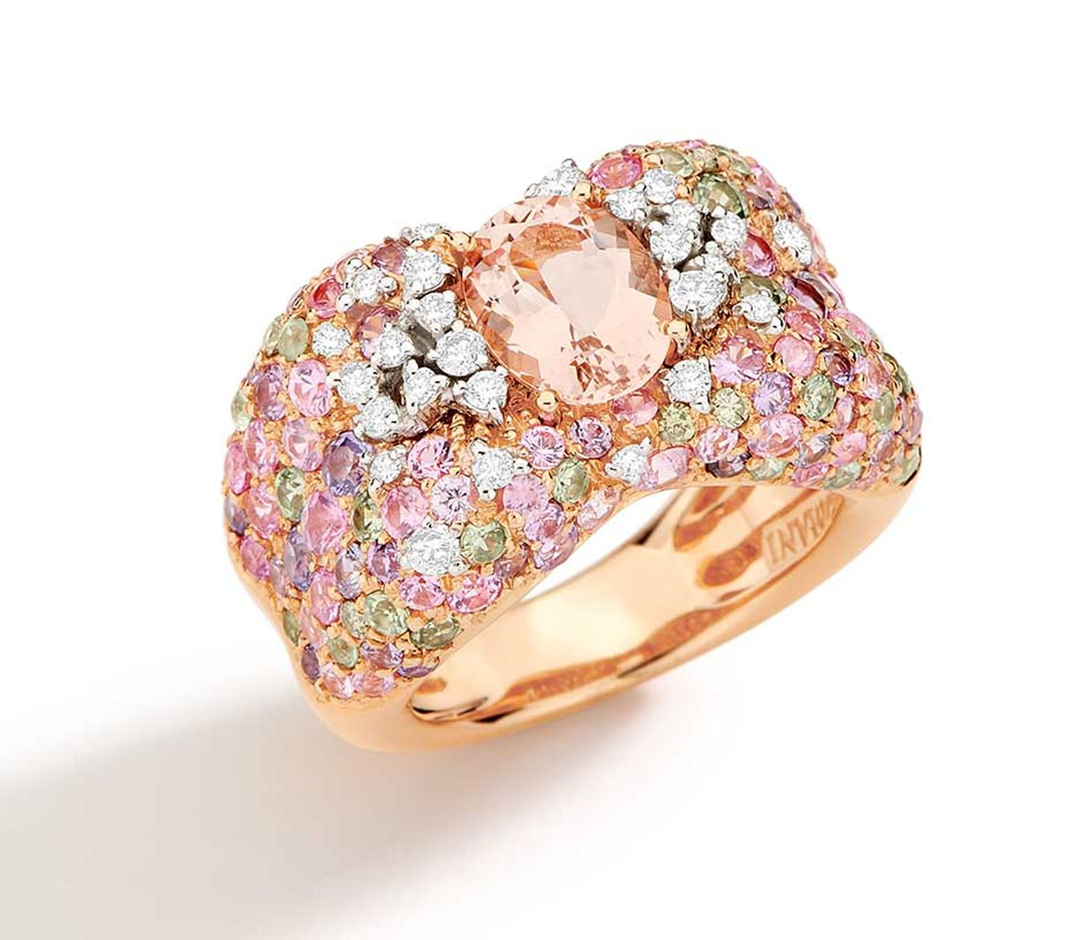 Brumani Panache collection white and rose gold ring with white and brown diamonds, morganite and multi-coulored sapphires