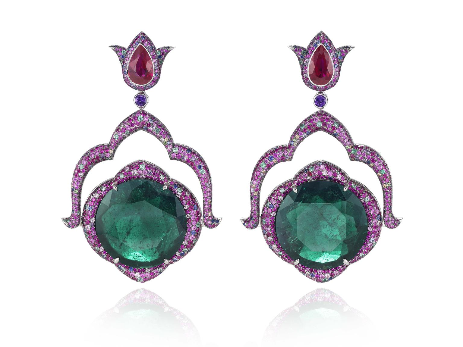Chopard Red Carpet Collection 2014 earrings in white gold set with round-shaped emeralds of  22.11ct and 21.66ct respectively, pear-shaped rubies, multi-coloured sapphires, rubies, emeralds, amethysts and tsavorites