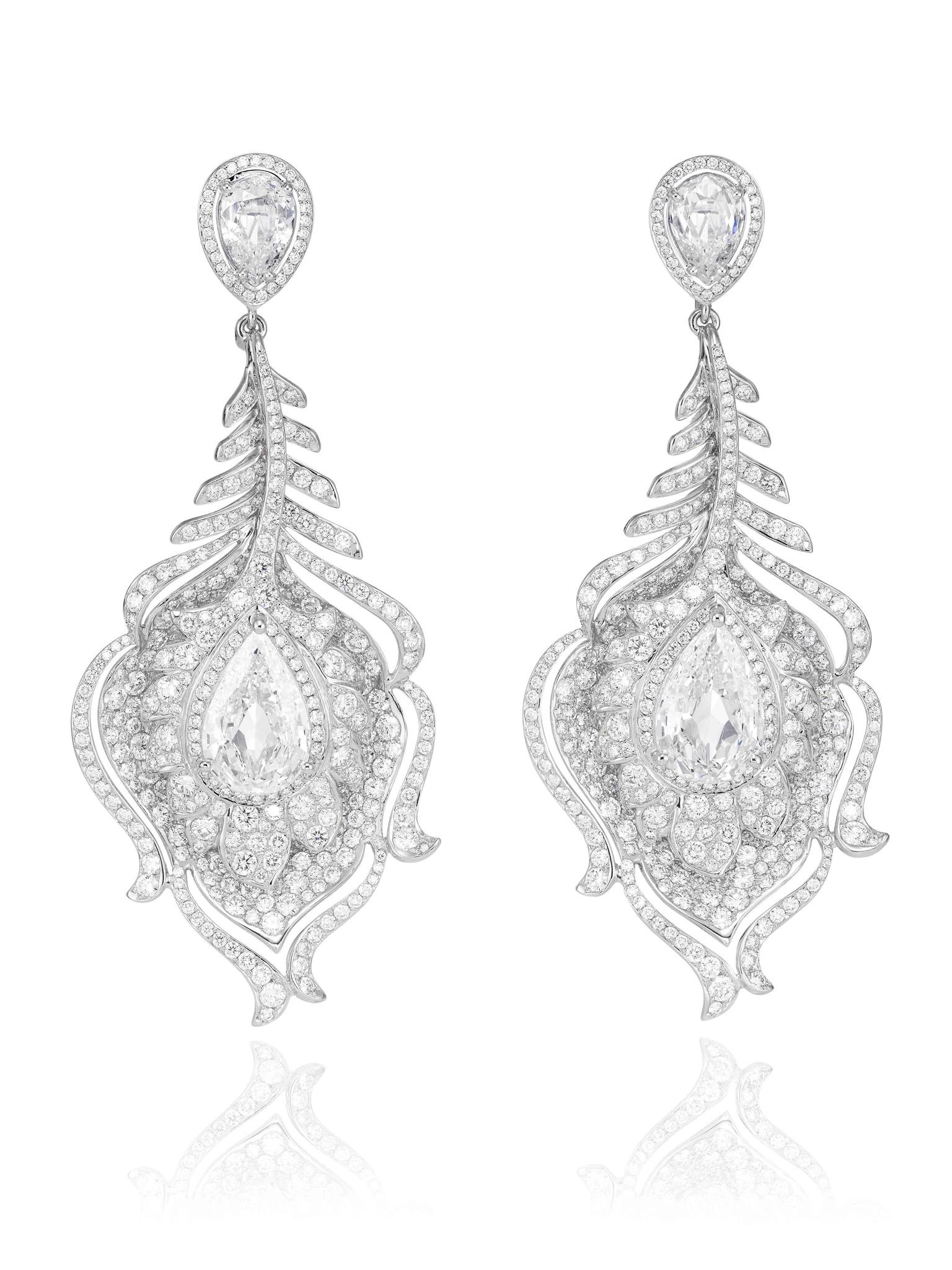 Chopard Red Carpet Collection 2014 Riviera diamond earrings. The Riviera set of jewels - a necklace and pair of earrings - took more than 1,000 hours to make