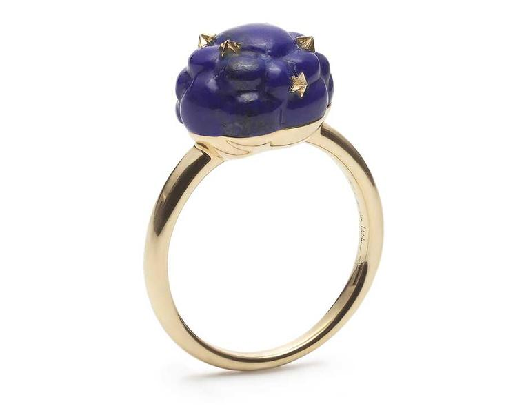 Bibi van der Velden stackable Cloud ring with a carved lapis lazuli cloud decorated with gold stars (€1,495)