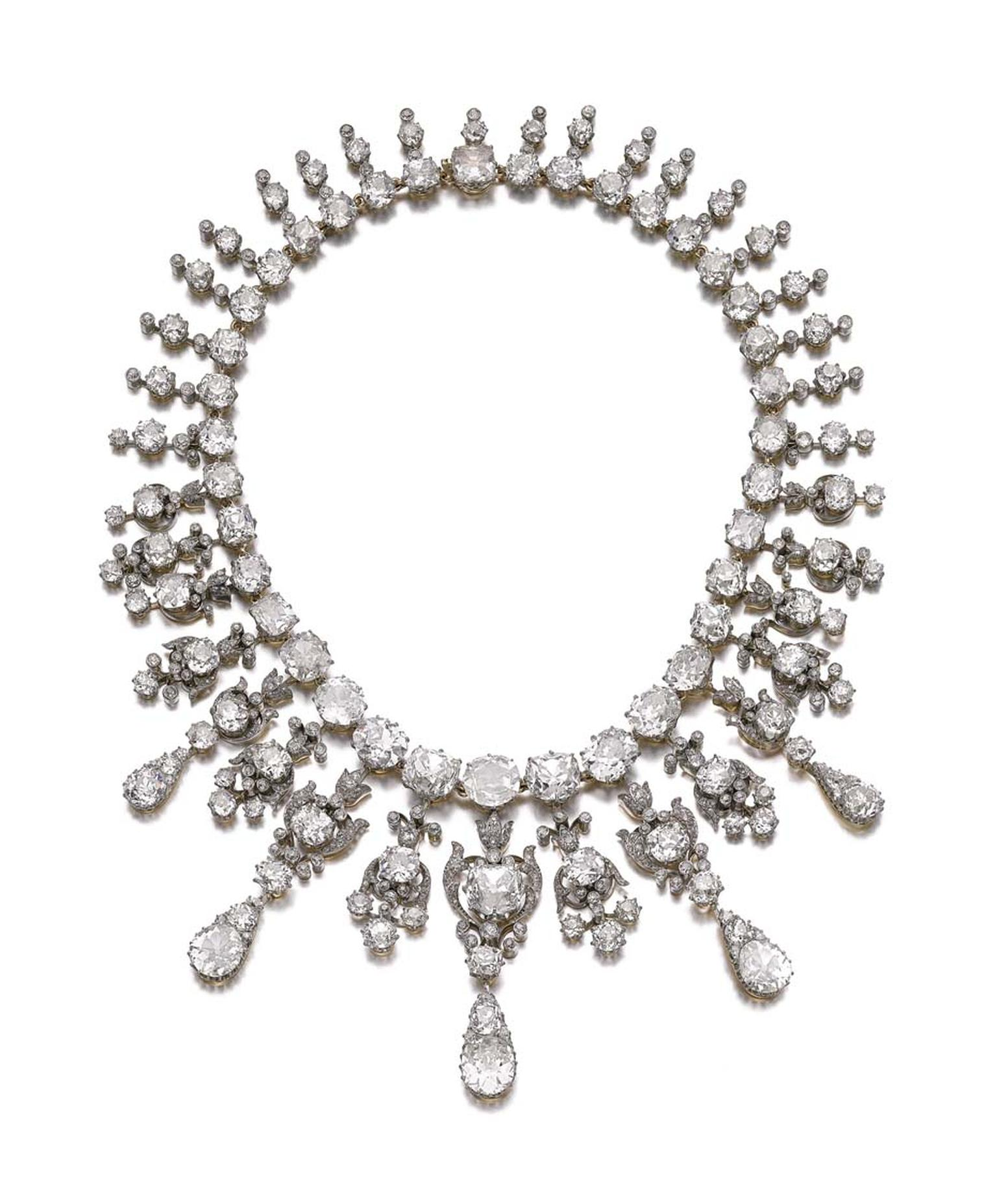 A diamond necklace from the collection of Flora Sassoon. Sold for CHF 1,085,000 (estimate: CHF 360,000-625,000)