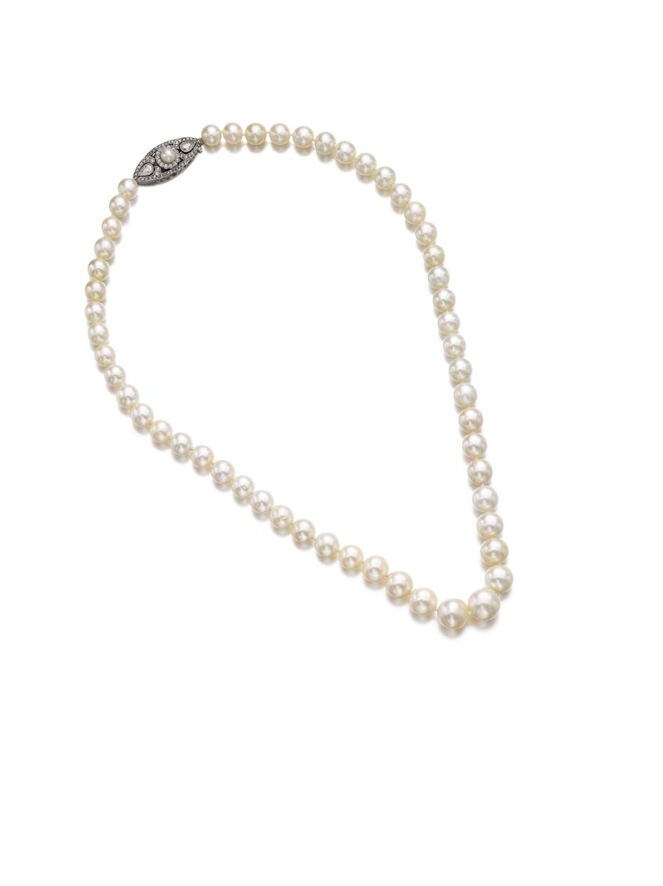 This natural pearl necklace with diamonds sold for more than eight times its high estimate, fetching nearly $3 million, at Sotheby's spring 2014 sale of jewellery in Geneva.