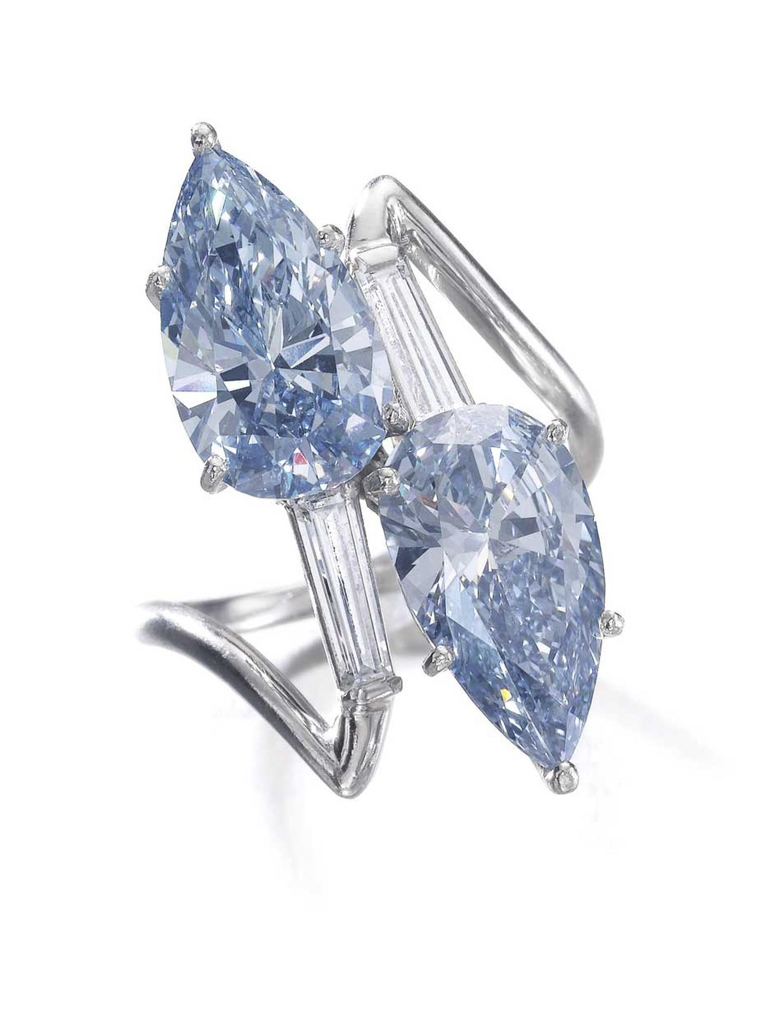 Fancy Vivid blue and Fancy Intense blue diamond ring with baguette diamonds. Sold for CHF 5,765,000 (estimate: 3,570,000-6,200,000)