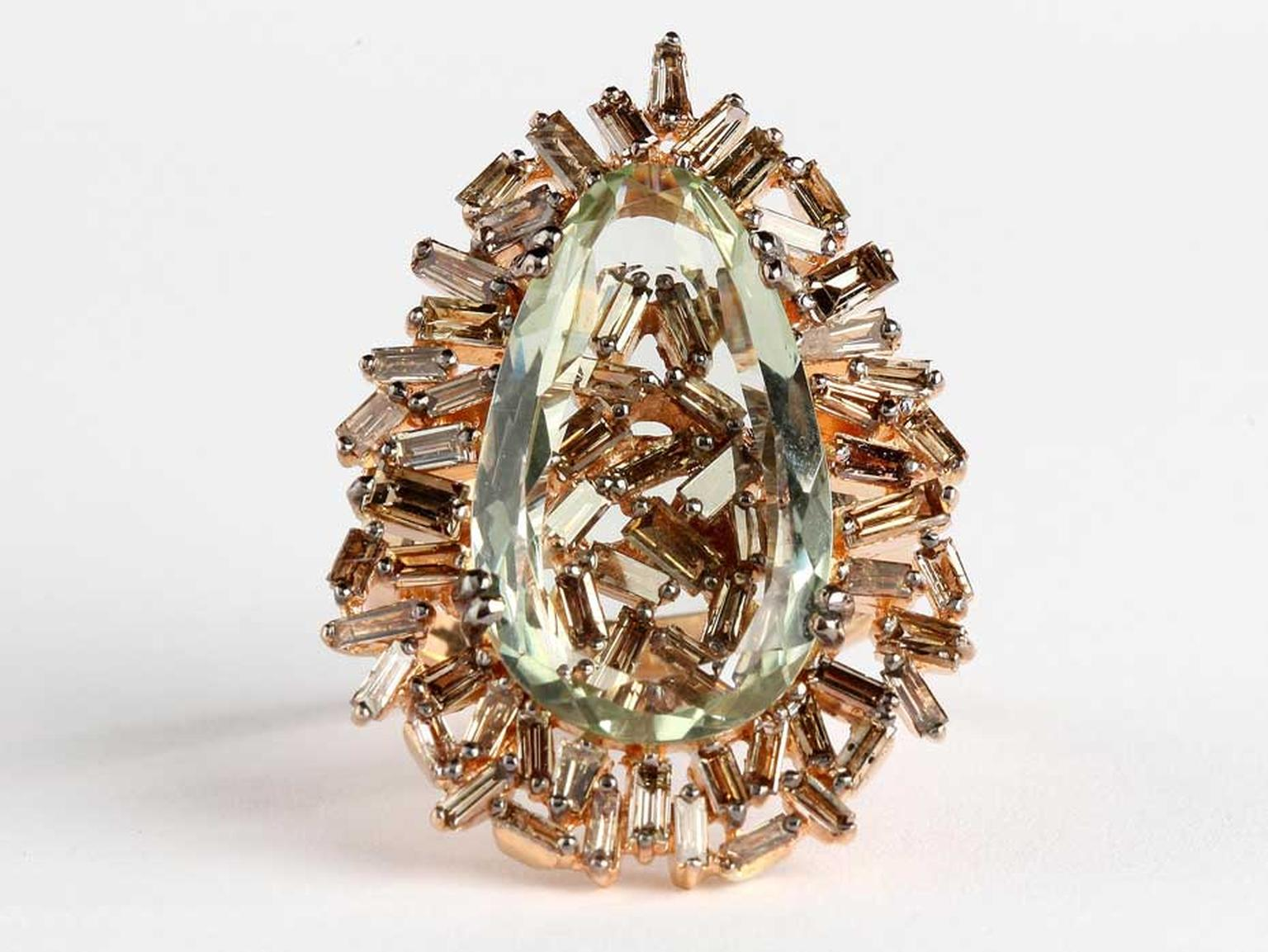 Suzanne Kalan white gold Vitrine ring with baguette champagne diamonds and a pear green Amy ($8,000).