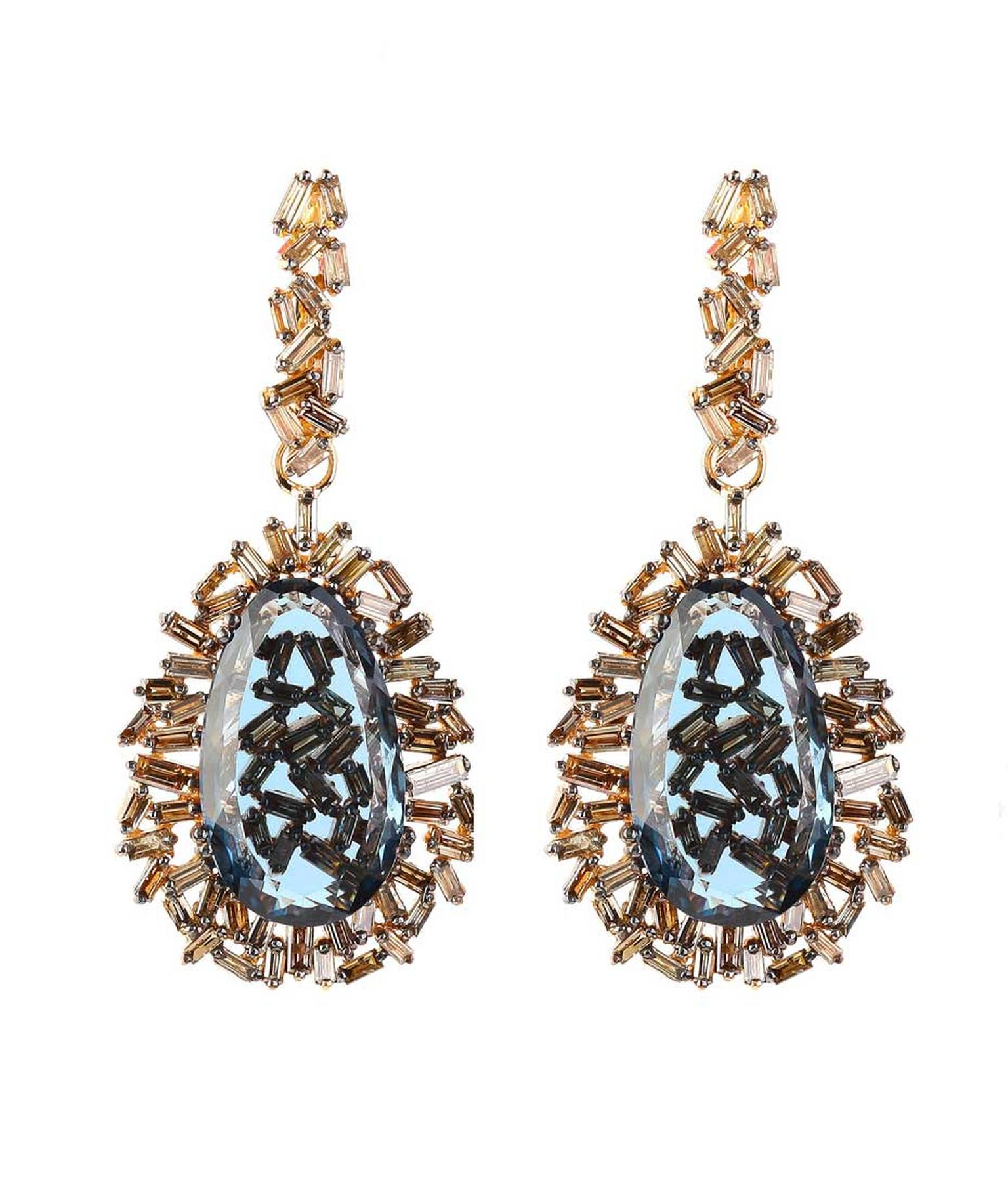 Suzanne Kalan rose gold Vitrine earrings with champagne diamonds and pear-cut London blue topaz ($18,400)