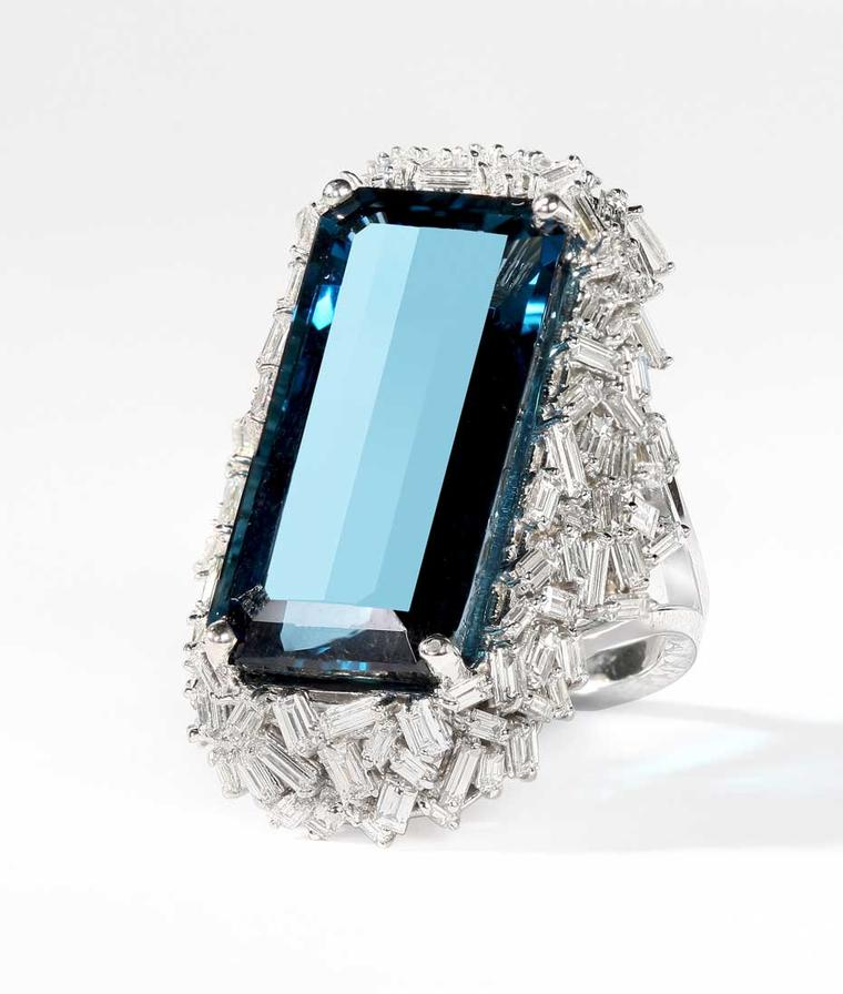 Suzanne Kalan one-of-kind white gold Vitrine ring with baguette diamonds and a 24.90ct London blue topaz ($18,000)