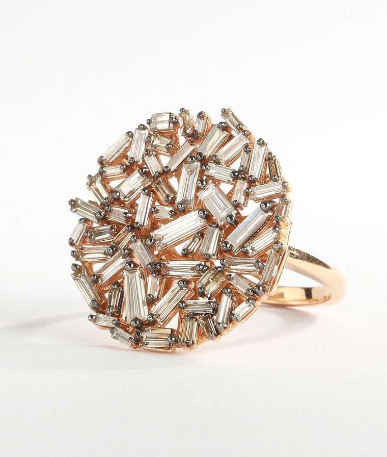 Suzanne Kalan rose gold Vitrine ring with champagne baguette diamonds ($5,000)