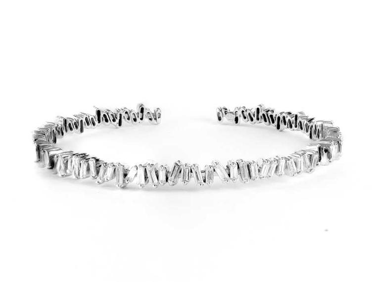 Suzanne Kalan white gold Vitrine bangle with baguette diamonds ($7,400)