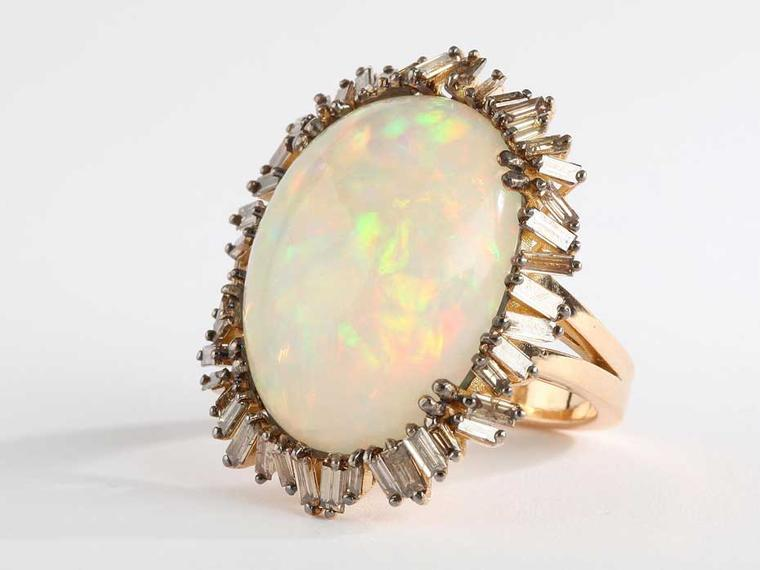 Suzanne Kalan one-of-a-kind rose gold Vitrine ring with champagne baguette diamonds and a 17.60ct opal ($14,000)