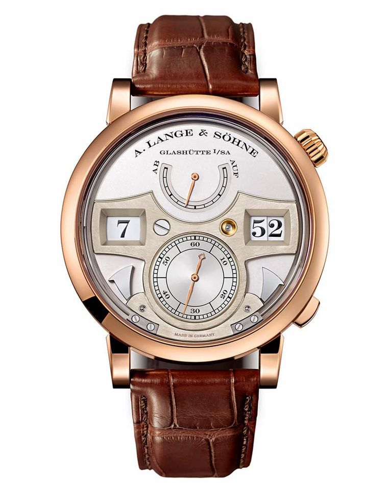 A. Lange & Söhne's Zeitwerk Striking Time watch in rose gold features a mechanical movement and an acoustic indicator that sounds once on the hour and once each quarter-hour