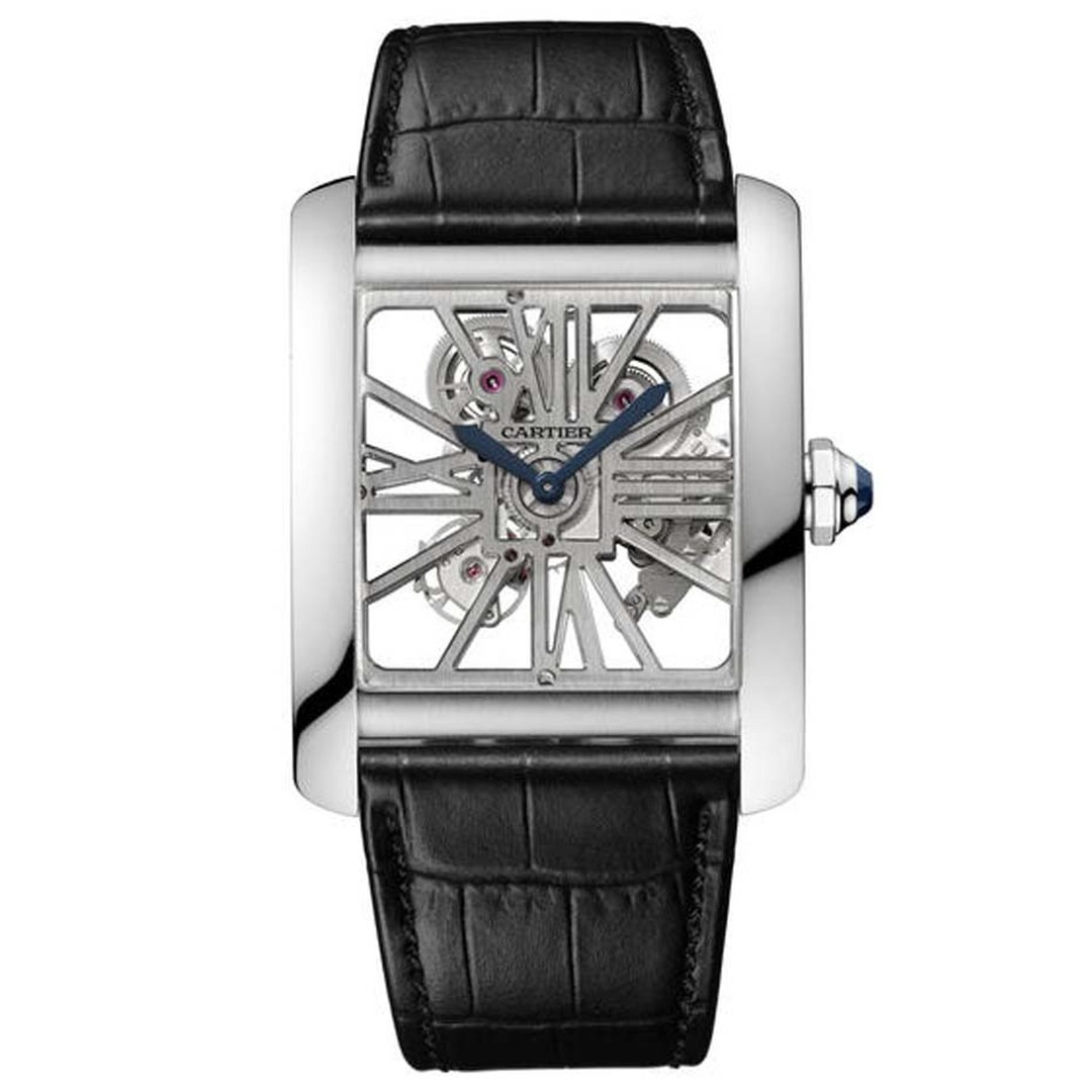 The Cartier Tank MC Skeleton palladium watch combines the iconic Cartier square case design with the modernity of a skeleton movement