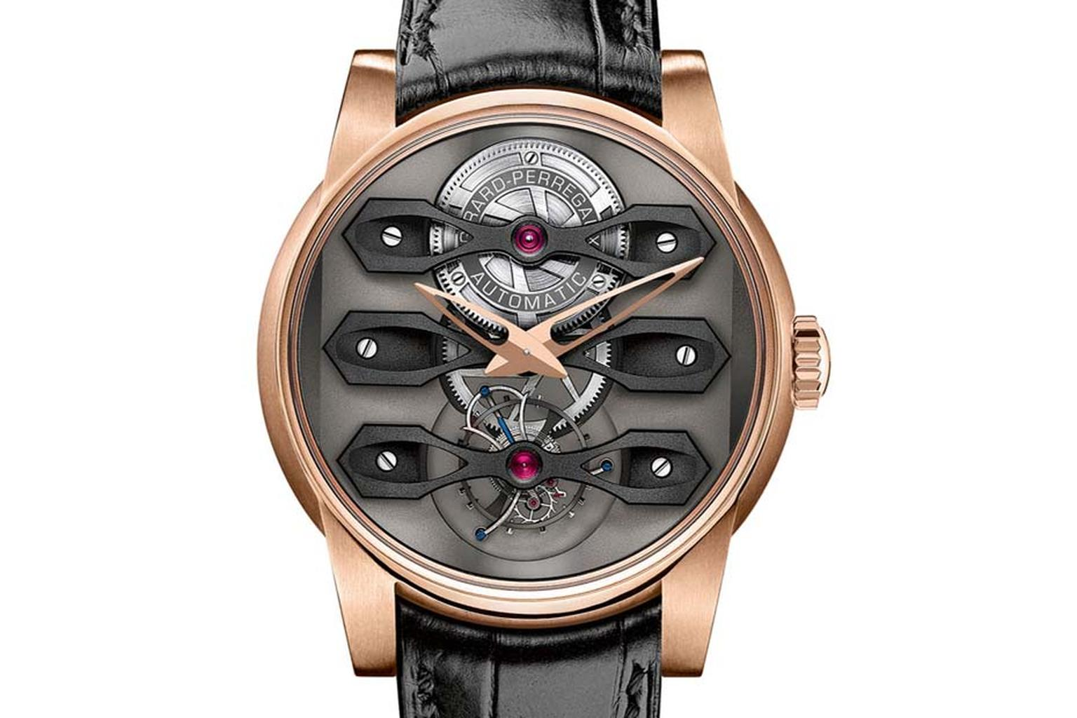 The new Girard-Perregaux Neo-Tourbillon watch is a timepiece with architectural details, which is precisely what Stefano Macaluso was aiming for when he designed the Neo-Tourbillon with three distinct tourbillon bridges