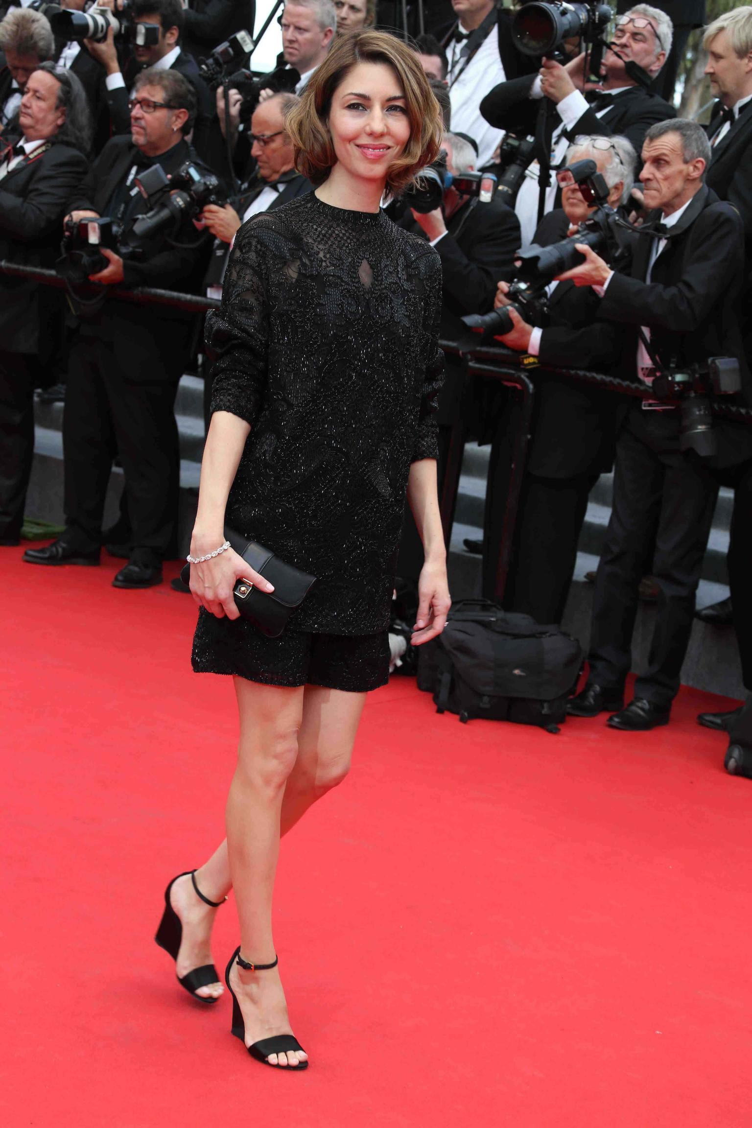 Director Sofia Coppola - member of the 67th Annual Cannes International Film Festival Jury - dressed up her black dress with a white diamond line bracelet by Chopard