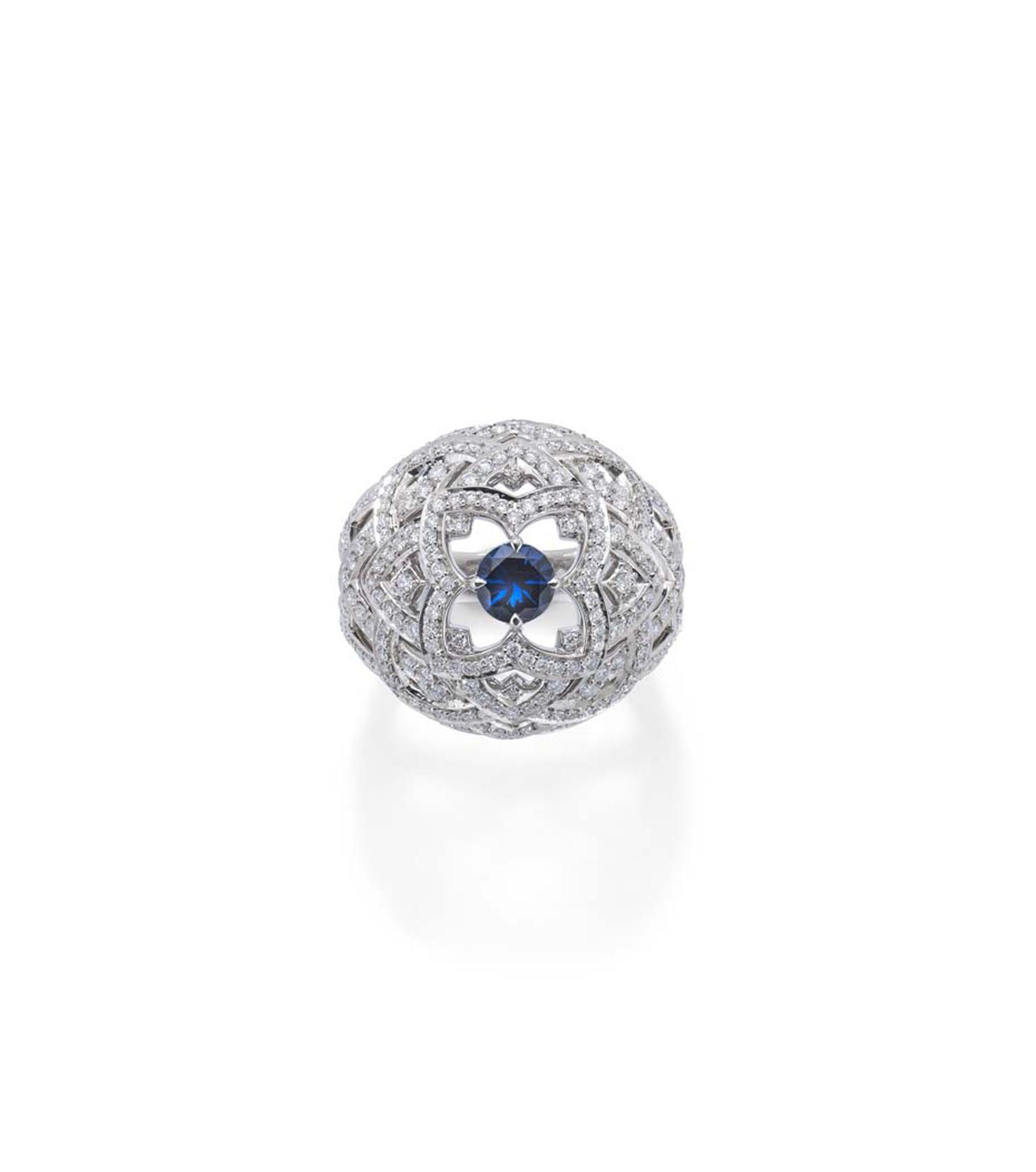 Mappin & Webb Floresco collection Bombe ring with 250 diamonds surrounding a centre sapphire.