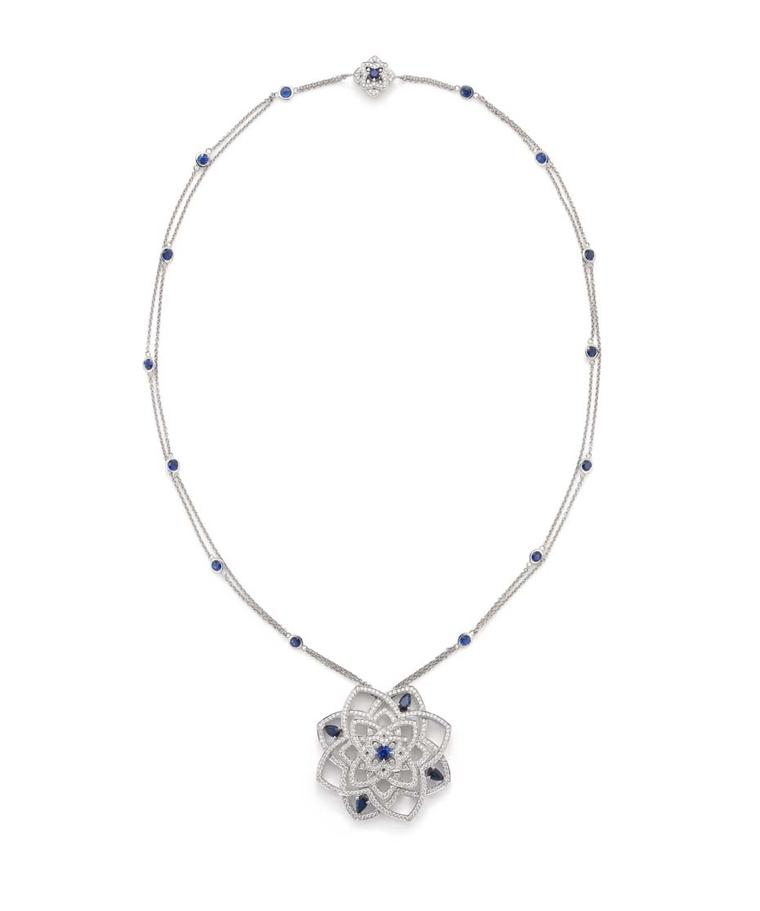Mappin & Webb Floresco collection high jewellery pendant in white gold with diamonds and sapphires, suspended from a sapphire-studded chain with a diamond and sapphire clasp