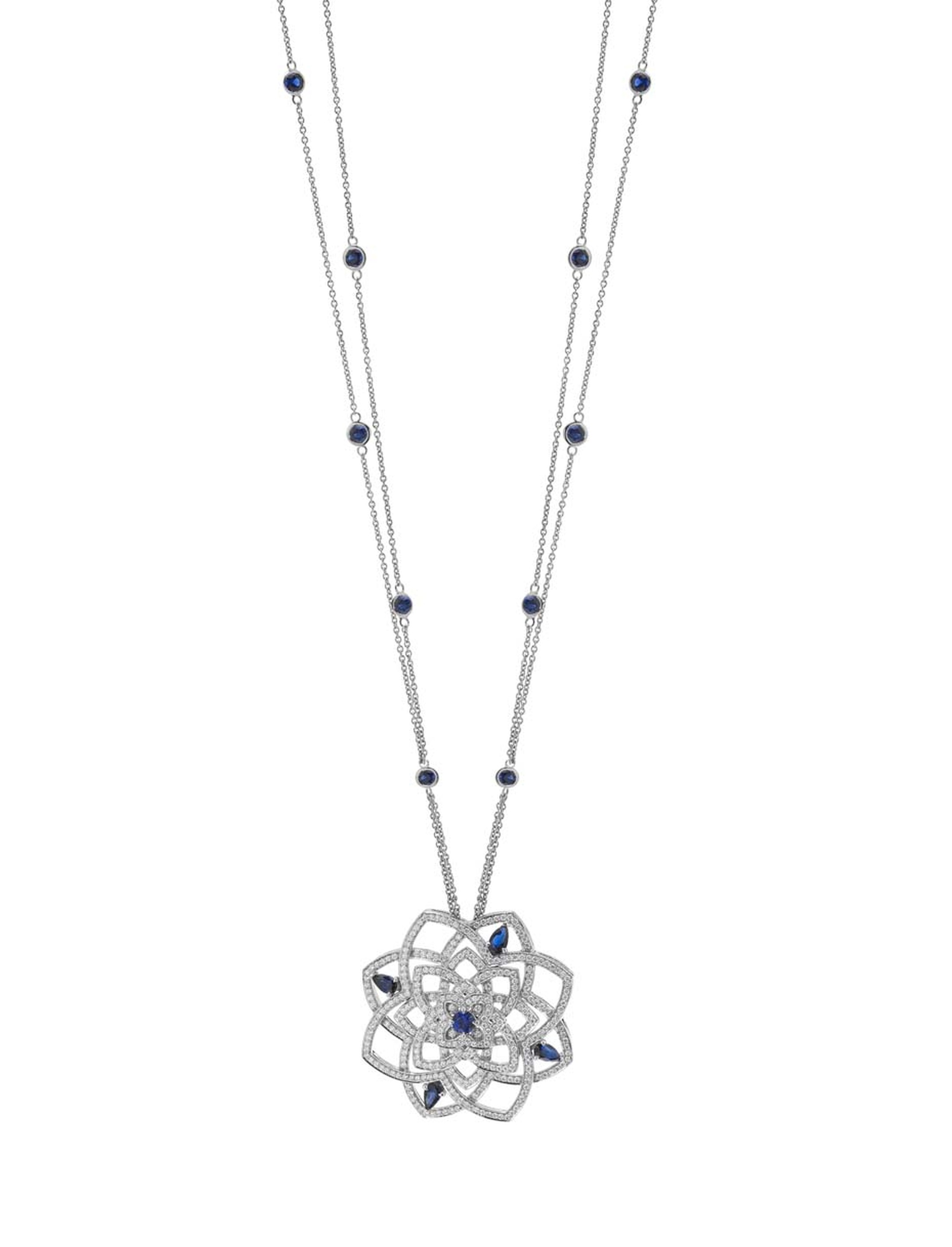 Mappin & Webb Floresco collection high jewellery pendant in white gold with diamonds and sapphires