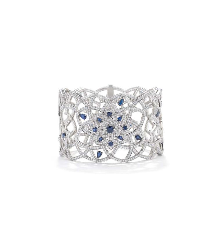 Mappin & Webb Floresco jewellery collection cuff in white gold, set with 10.10 carats of brilliant-cut diamonds and 28 pear-cut sapphires