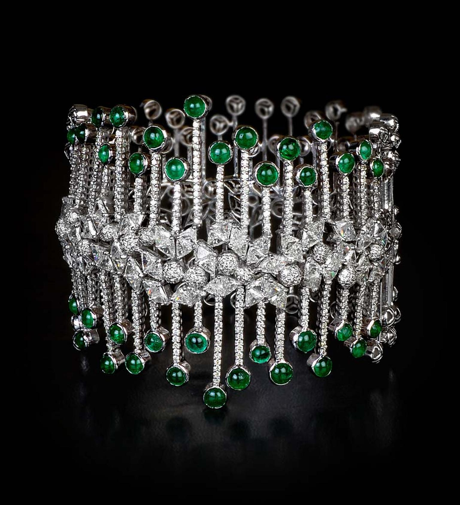 MINAWALA Festival of Emeralds collection bracelet in white gold with diamonds and emeralds