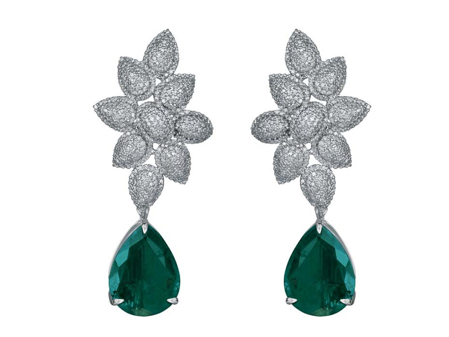 MINAWALA Festival of Emeralds collection earrings in white gold with diamonds and emeralds