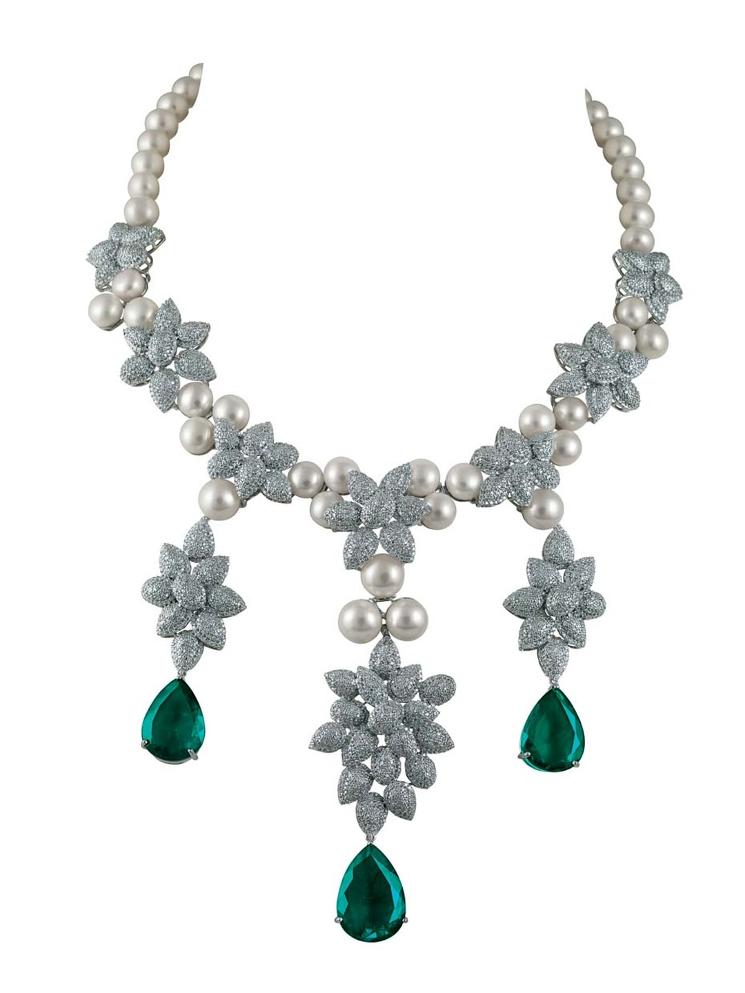 MINAWALA Festival of Emeralds collection necklace in white gold with diamonds, emeralds and pearls