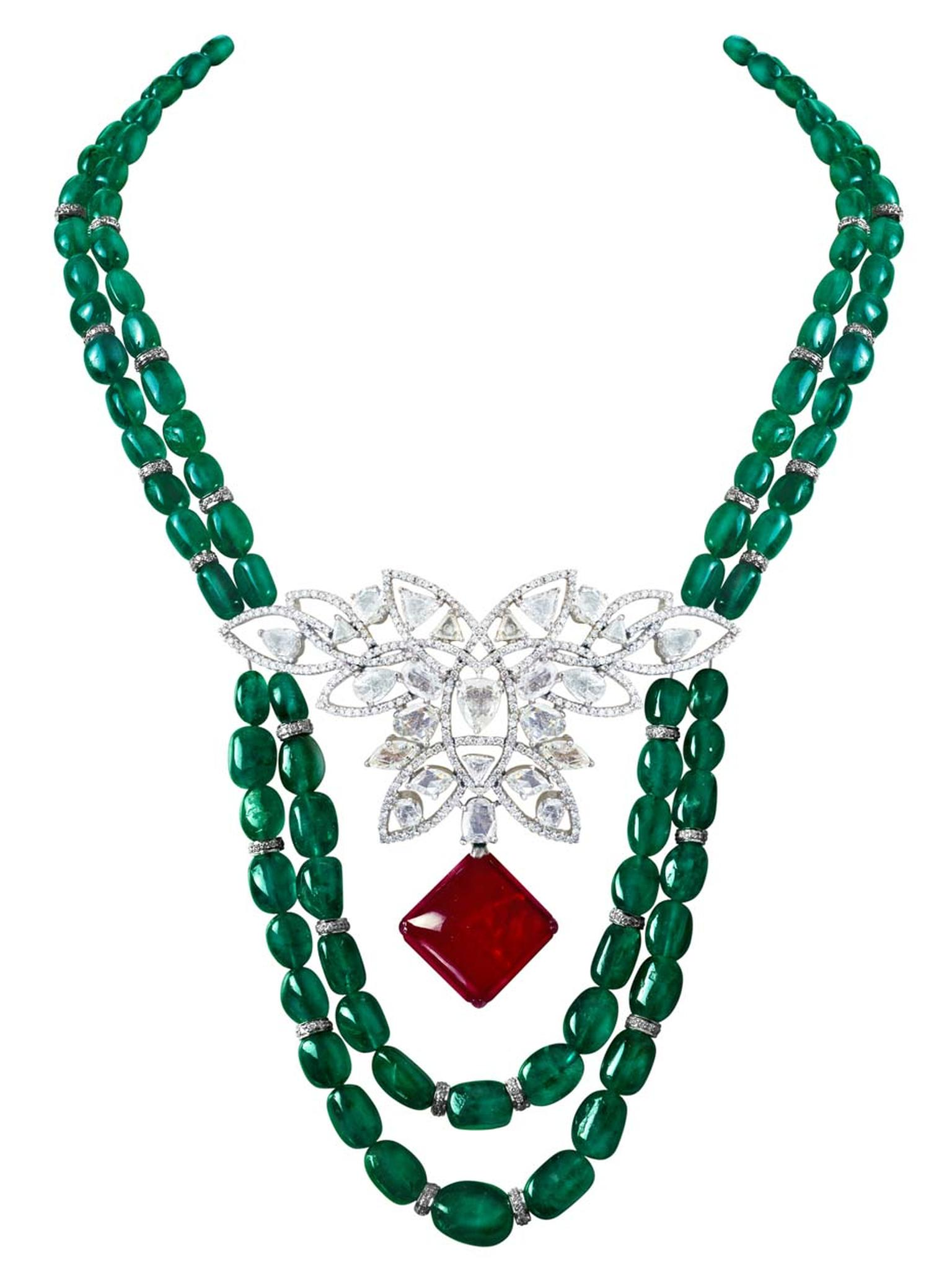 MINAWALA Festival of Emeralds collection necklace in white gold with diamonds, emeralds and a ruby