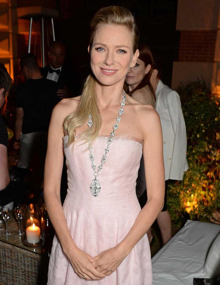 Naomi Watts attended the CK Collection & Euphoria Calvin Klein Celebrate Women In Film event last night wearing a Bulgari Heritage Collection diamond necklace circa 1930