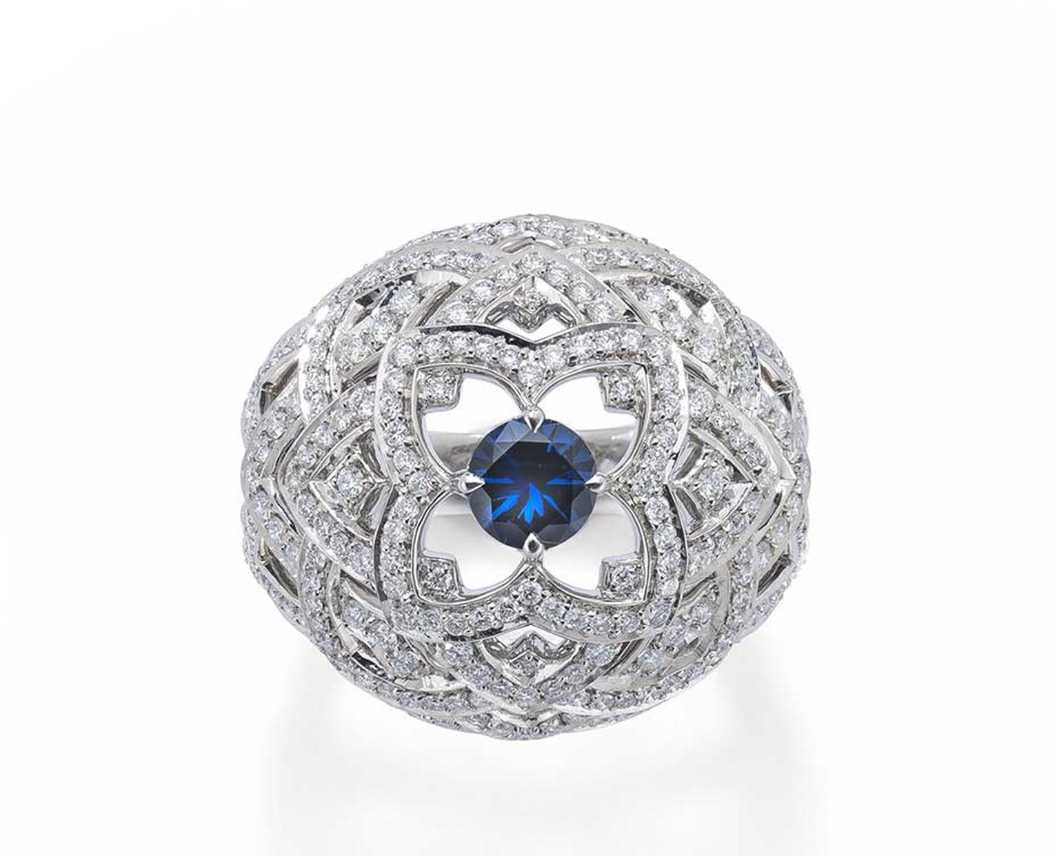 Mappin & Webb Floresco collection high jewellery ring in white gold, set with 250 diamonds and a vibrant brilliant-cut blue sapphire