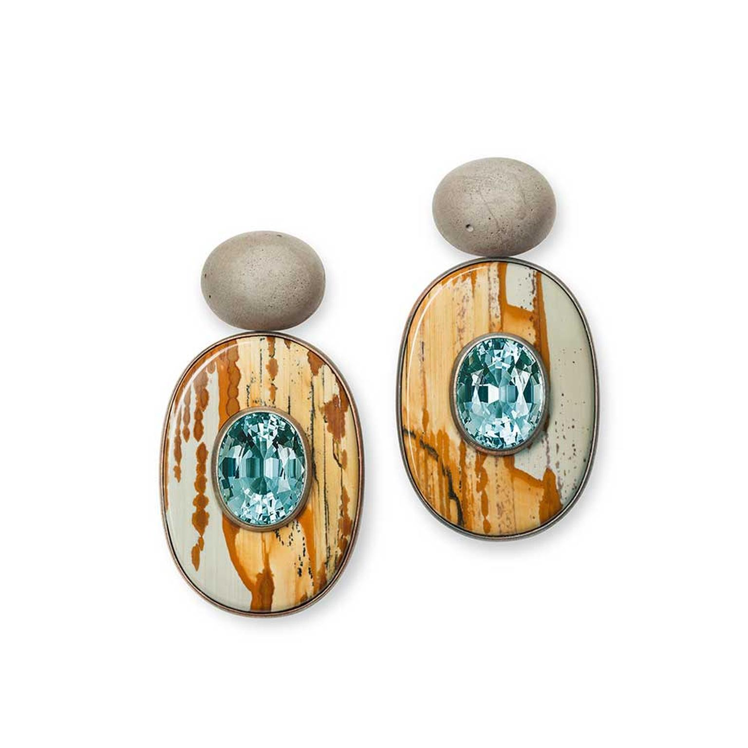 Hemmerle earrings featuring aquamarines set into slices of jasper with concrete, copper and gold