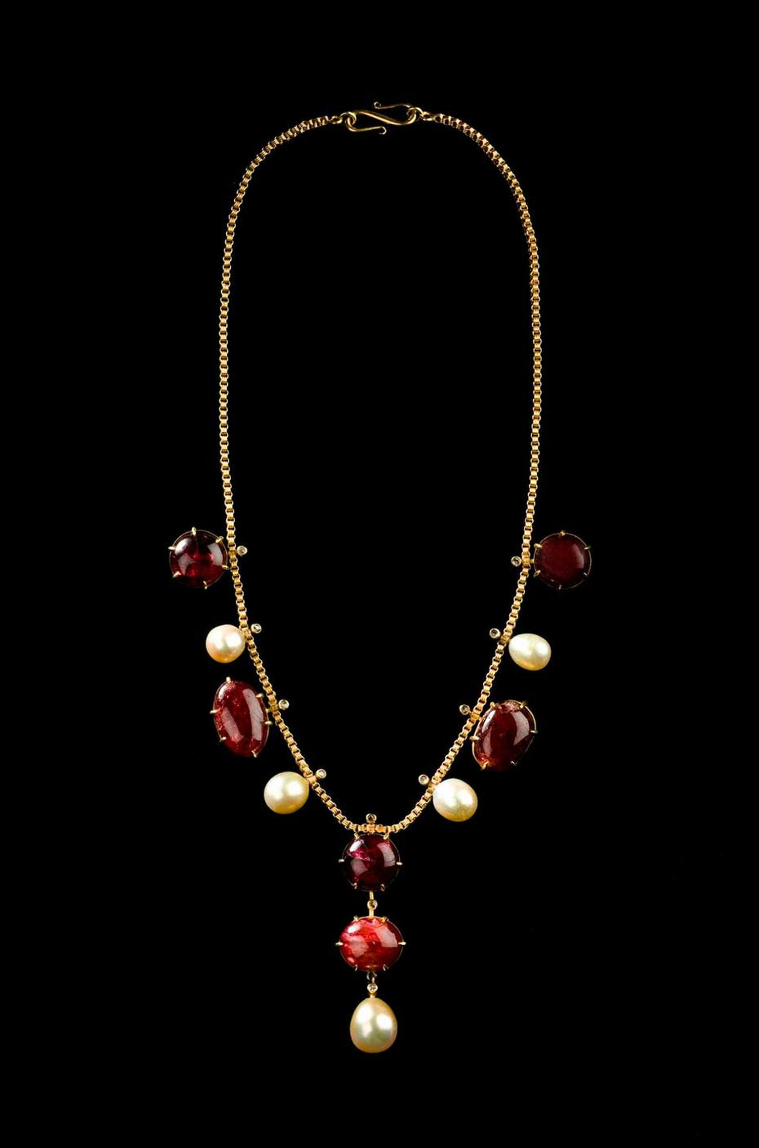 Ming dynasty cabochon ruby and natural pearl necklace at the Susan Ollemans Gallery.