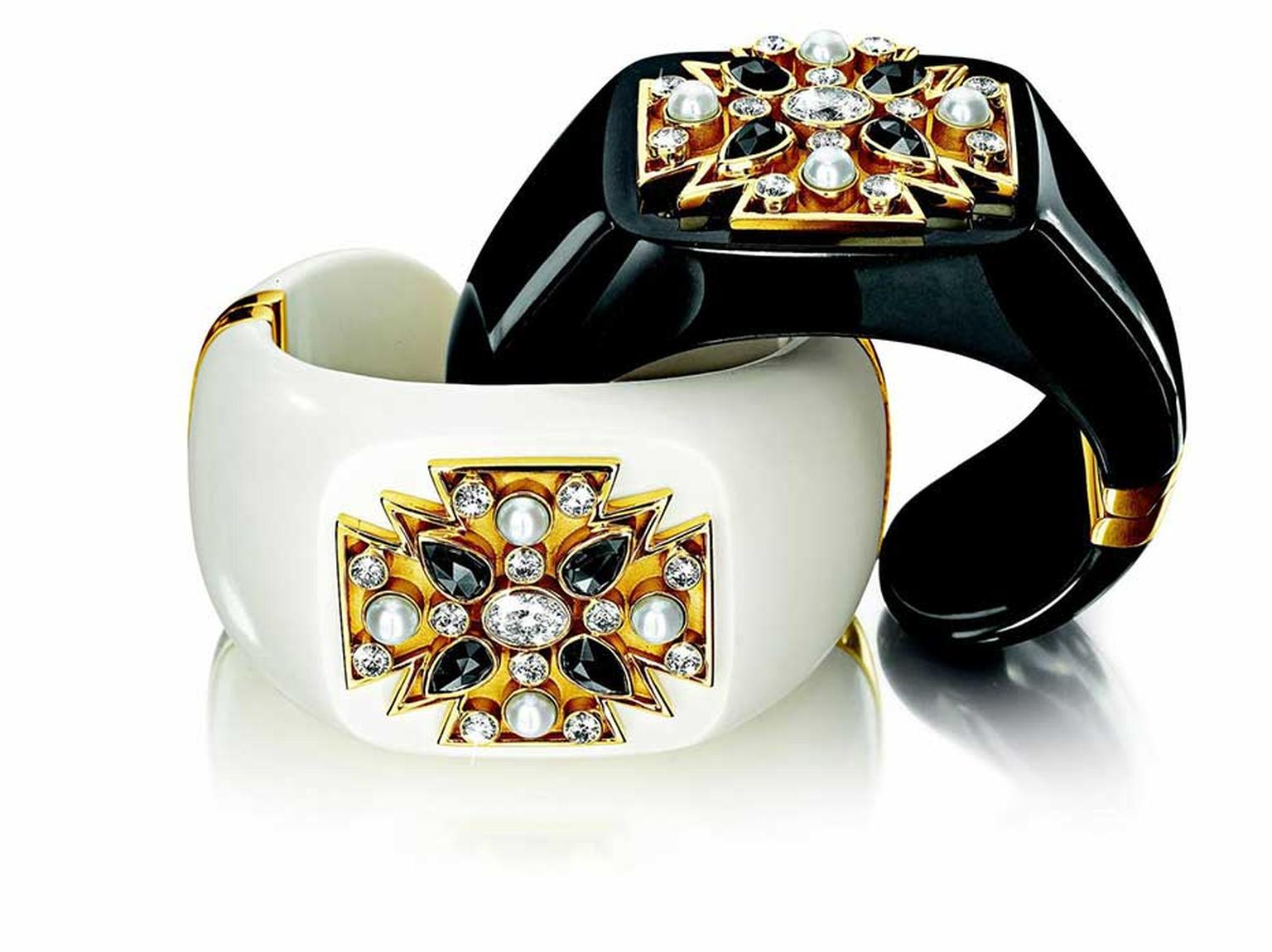Verdura Maltese cuff featuring mammoth ivory or black jade with diamonds, pearls and gold.