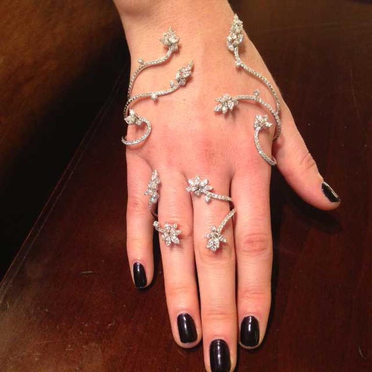 Yeprem will be showing a wide selection of unique hand jewels at the Couture Show Las Vegas. This glamorous flower design wraps around the hand and fingers like wild vines