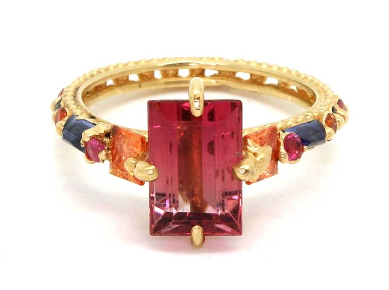 Polly Wales faded pink tourmaline ring with orange, pink and blue sapphires