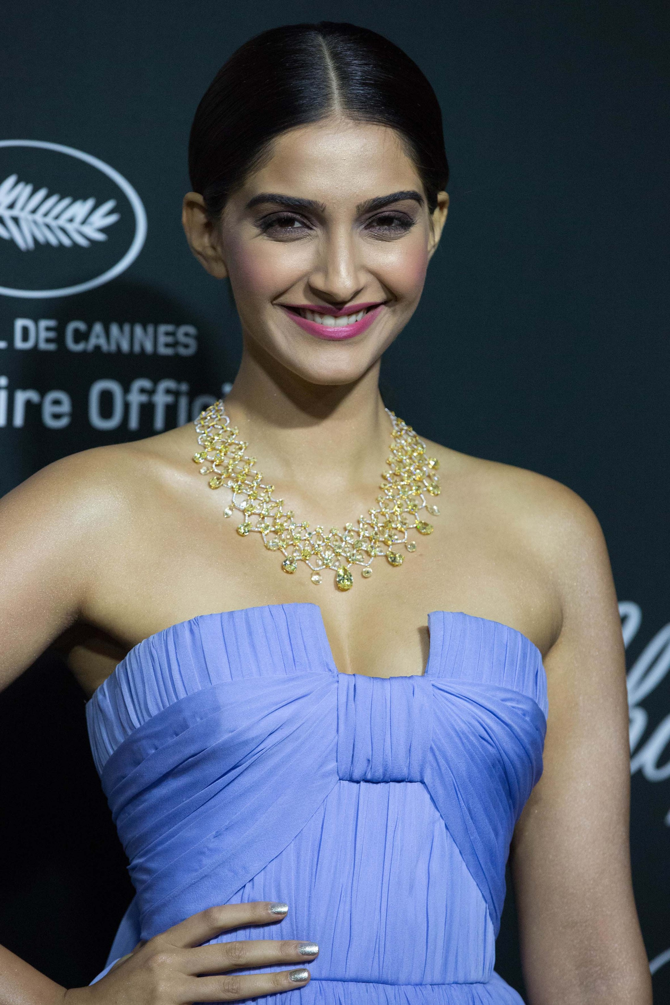 Sonam Kapoor dazzled at Chopard's Backstage party in a lilac chiffon dress and a Chopard yellow and white diamond high jewellery necklace