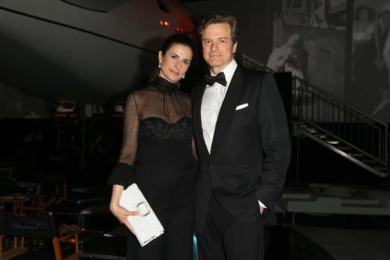 Livia Firth, who continues to collaborate with Chopard on its ethical Green Carpet Collection of jewels, attended the Backstage party with husband Colin