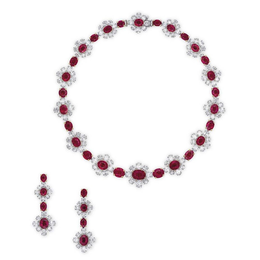 Burmese pigeon's blood red ruby and diamond jewellery by James W. Currens for Faidee (estimate: US$4-6.25 million)