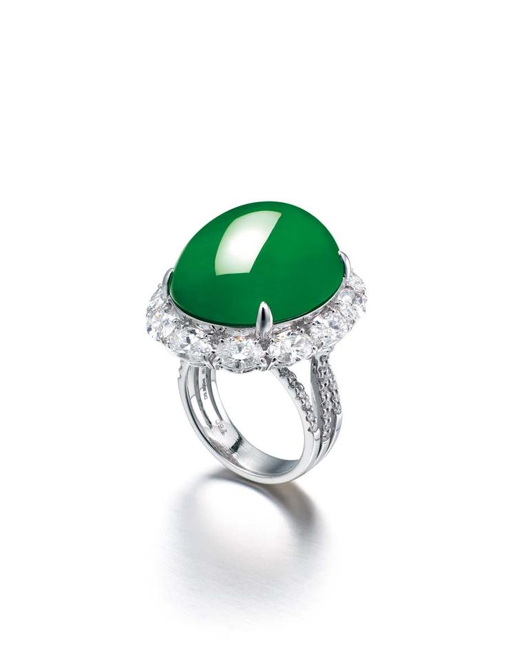 Chow Tai Fook jadeite and diamond ring