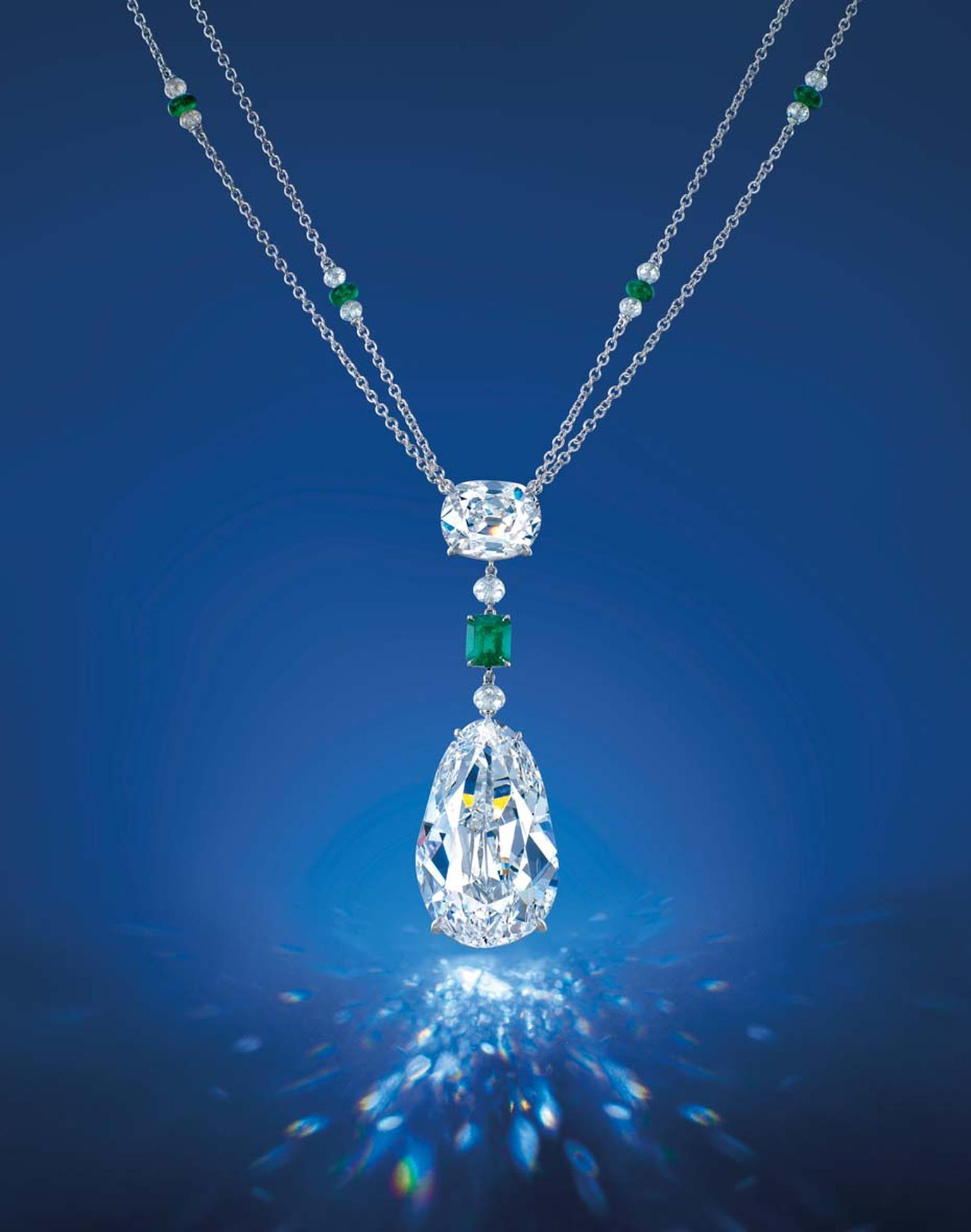 The Eye of Golconda diamond necklace. The Eye of Golconda diamond is the largest Golconda diamond ever to be auctioned in Asia, with a pre-sale estimate of US$8.5-10million