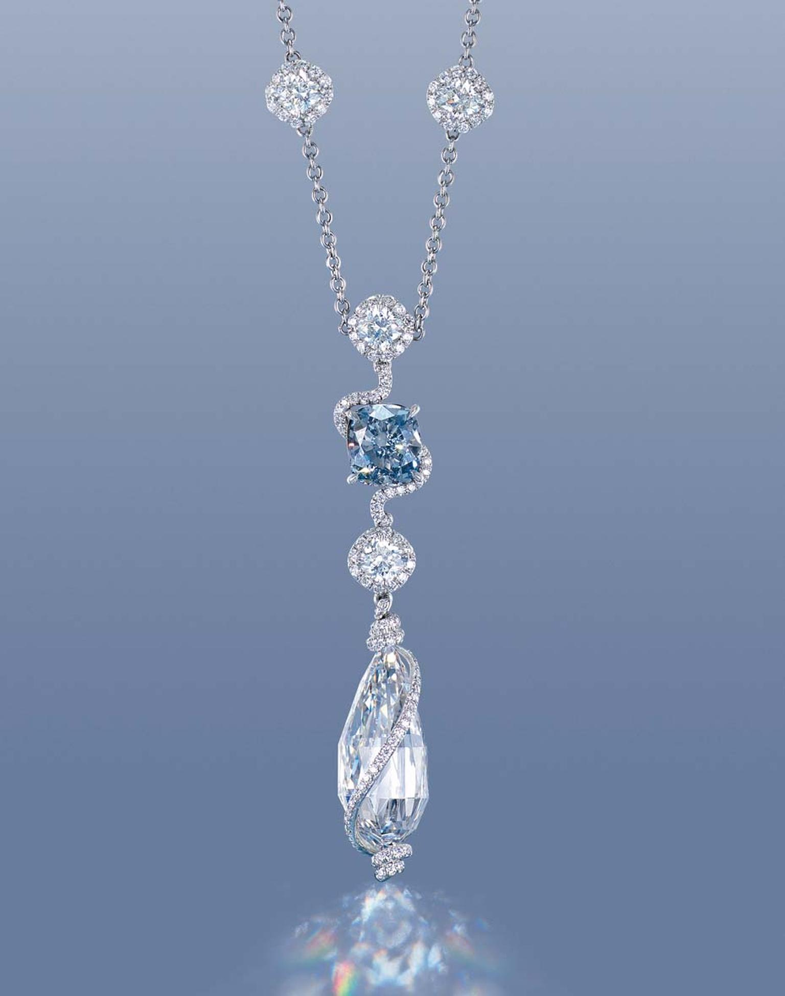 Internally flawless 12ct D colour briolette diamond pendent (estimate: US$1.6-2.3 million)