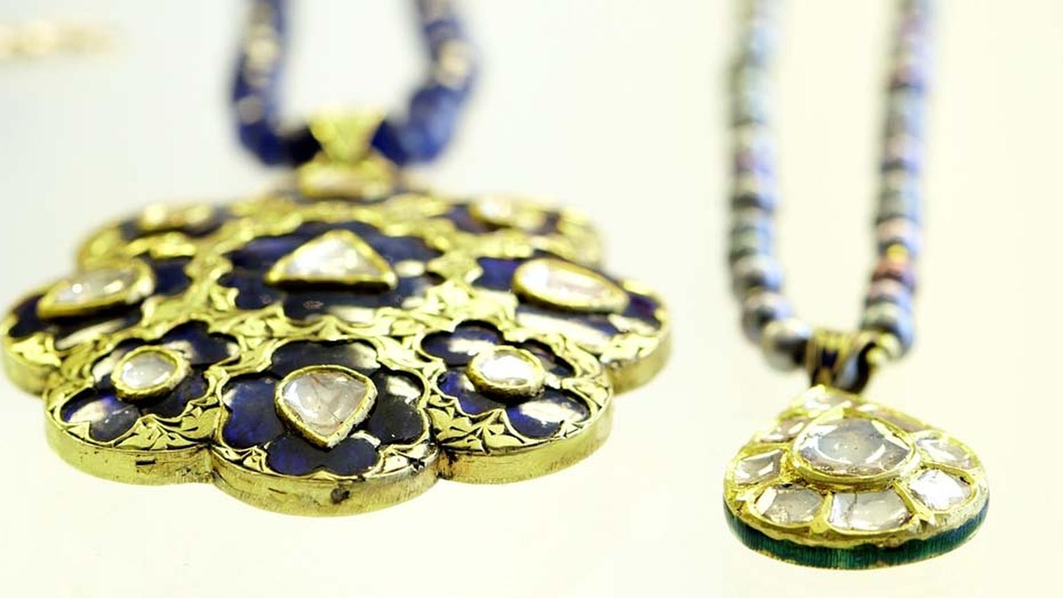 Jade Jagger Jaipur collection gold necklaces with sapphires and polki diamonds