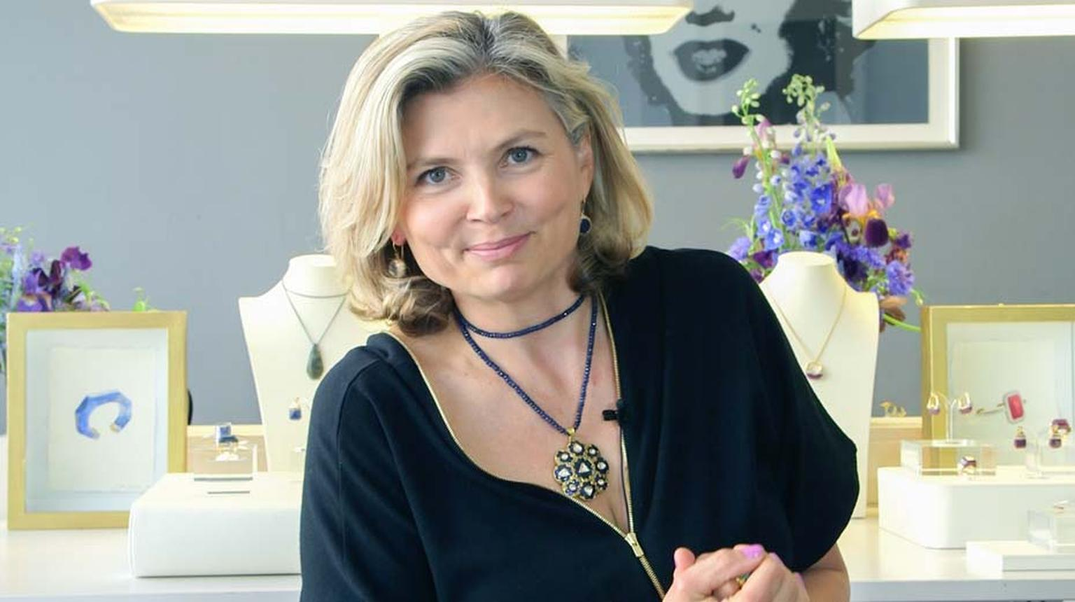 The Jewellery Editor, Maria Doulton, wears several of Jade's newest creations, as styled by Jade herself, including a sapphire and polki diamond necklace, sapphire earrings and a chrysophrase and diamond ring