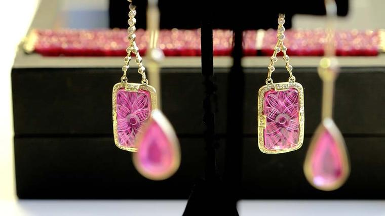 Jade Jagger carved ruby earrings in gold