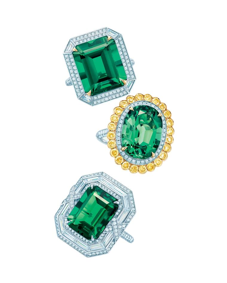 Top to bottom, Tiffany & Co. Blue Book Collection emerald ring with diamonds set in platinum and gold; emerald ring with white and yellow diamonds set in platinum and gold; and emerald ring with diamonds set in platinum