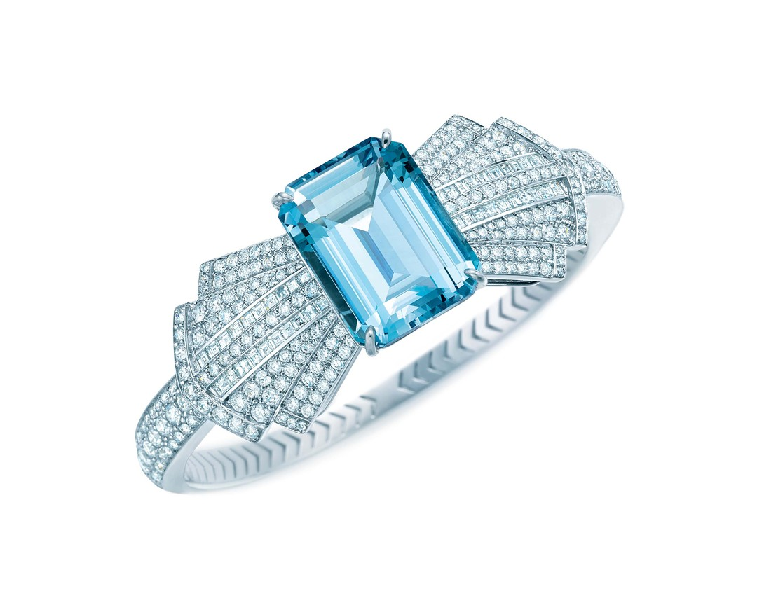 Tiffany & Co. Blue Book Collection platinum bracelet featuring a central emerald cut aquamarine surrounded by a bow tie of diamonds (£81,500).