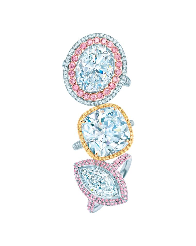 Top to bottom, Tiffany & Co. Blue Book Collection Fancy Vivid pink diamond ring with diamonds set in platinum; 10.17ct diamond ring set in platinum and gold; and white and Fancy Vivid pink diamond ring set in platinum