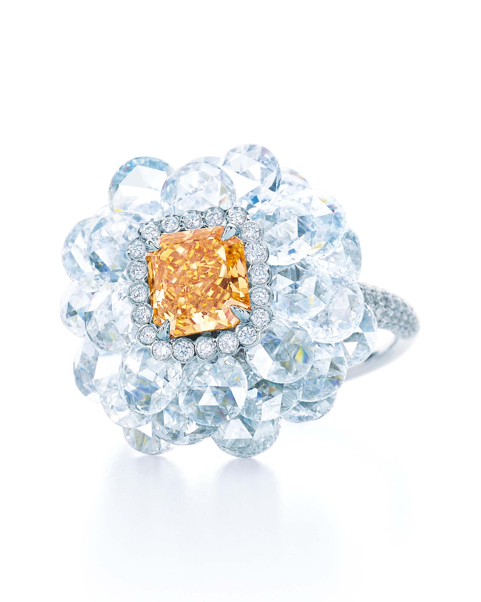 Tiffany & Co. Blue Book Collection Fancy Intense yellow orange diamond ring set in platinum