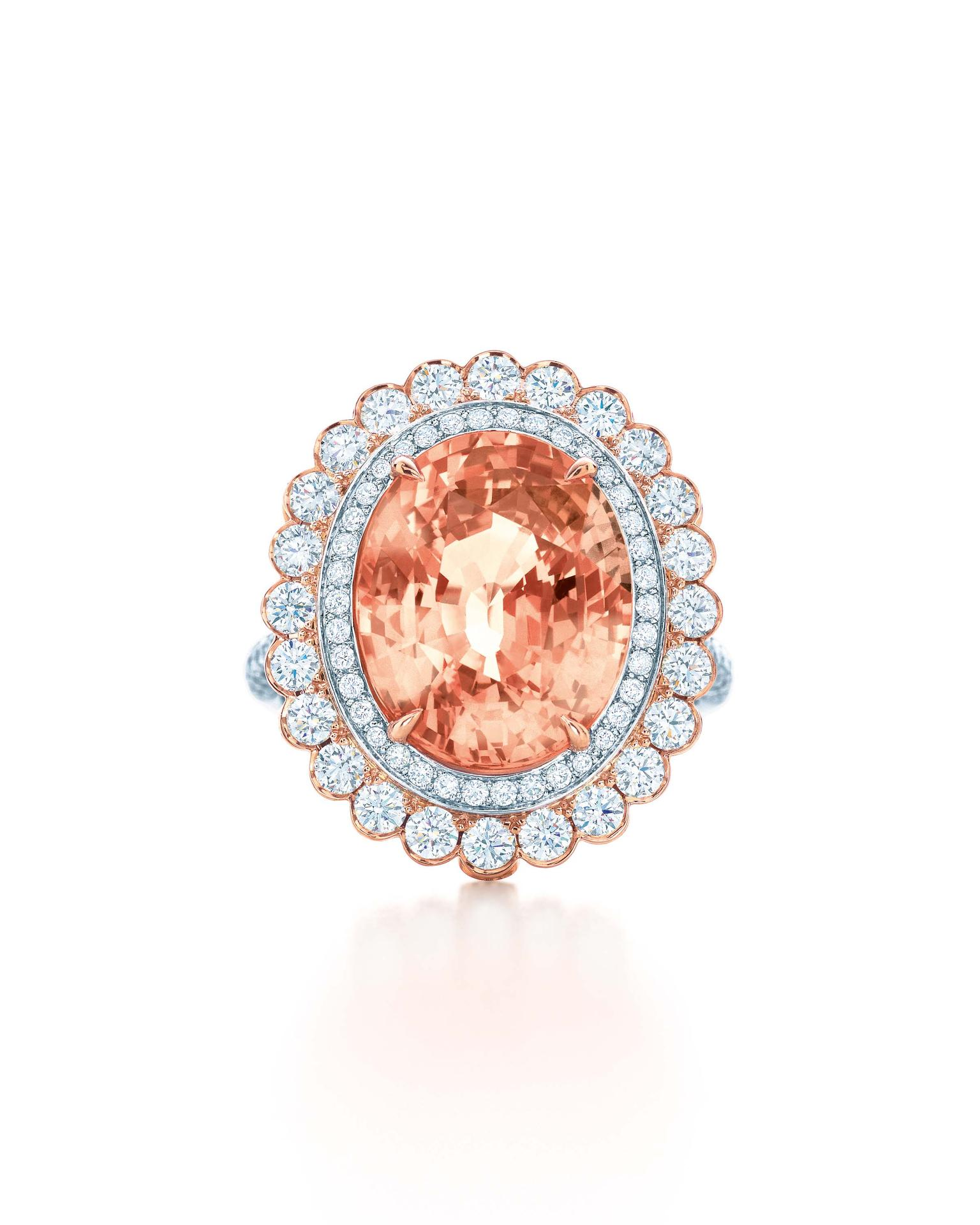 Tiffany & Co. Blue Book Collection padparadscha sapphire ring with diamonds set in rose gold and platinum