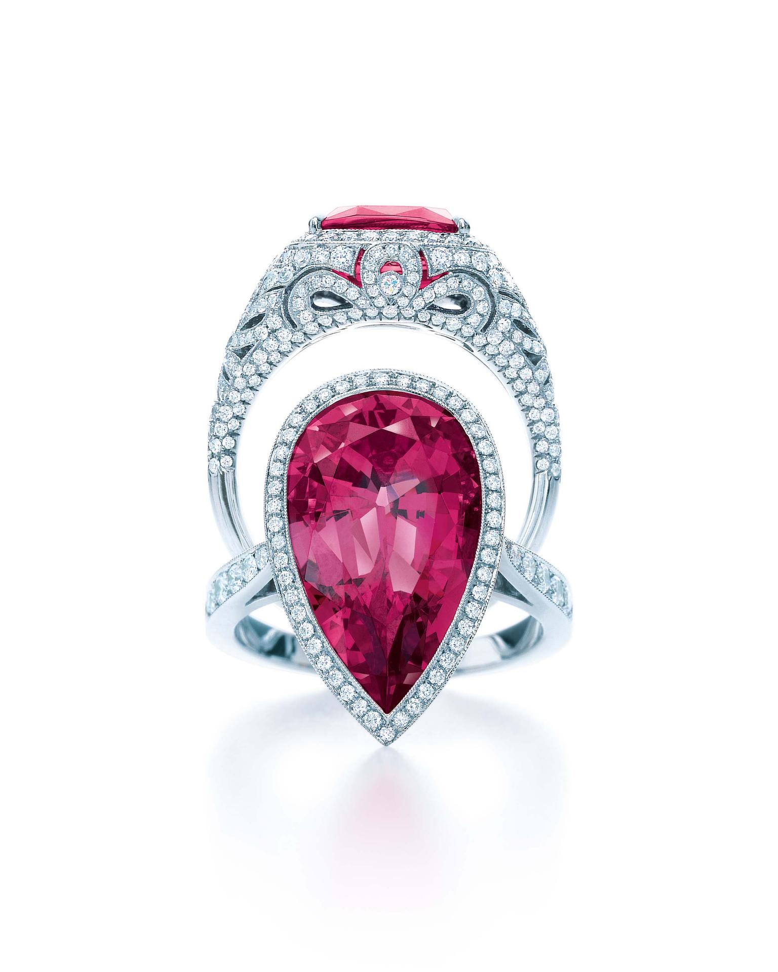 Tiffany & Co. Blue Book Collection red spinel ring, bottom, with diamonds set in platinum pictured with the Tiffany & Co. Blue Book Collection pink sapphire ring (top) with diamonds in platinum