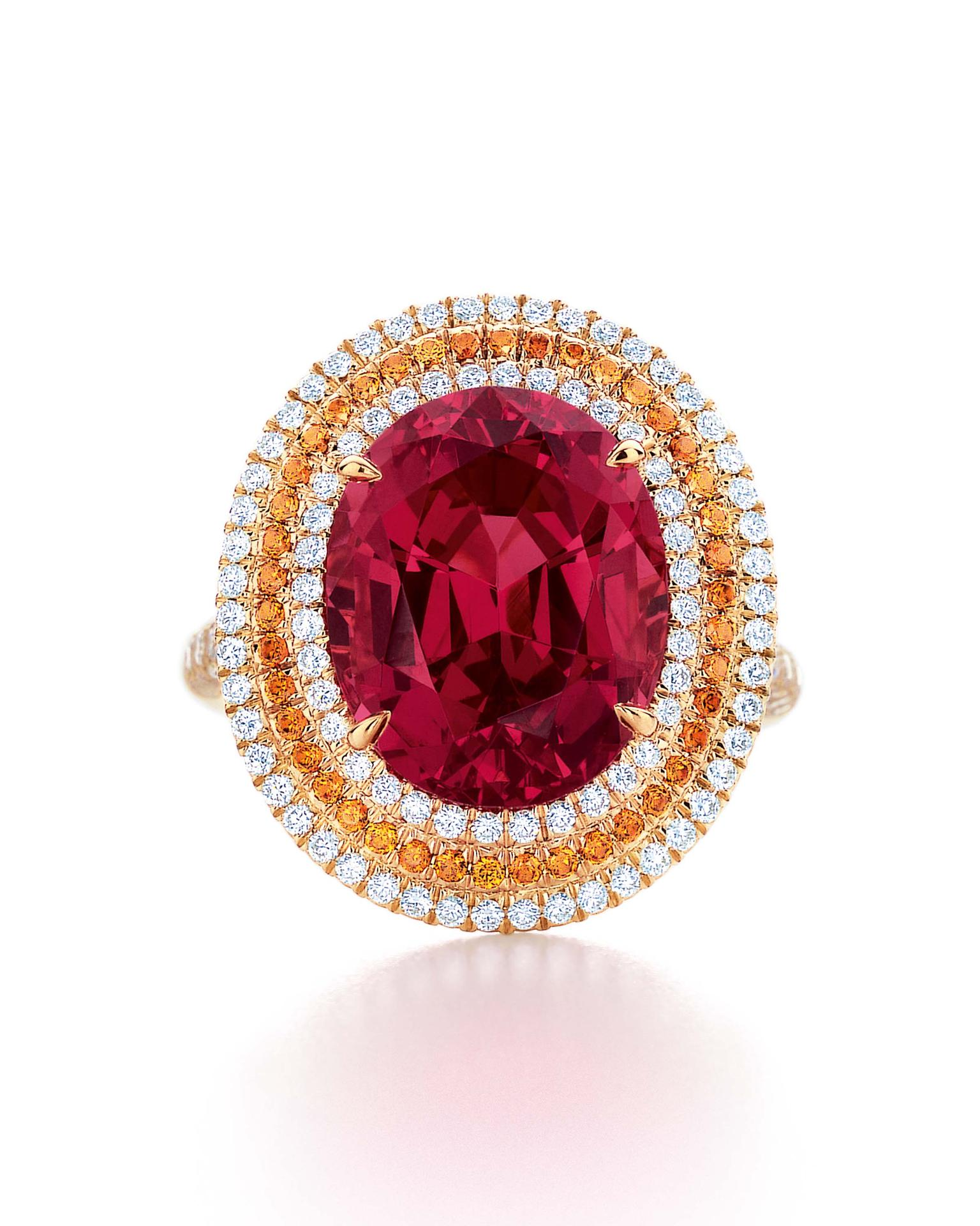 Tiffany & Co. Blue Book Collection red spinel ring with spessartite garnets and white diamonds set in yellow gold