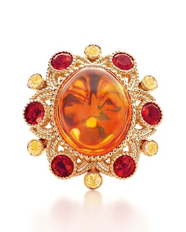 Tiffany & Co. Blue Book Collection ring in gold with a 10.54ct cabochon fire opal, yellow diamonds and smaller faceted fire opals
