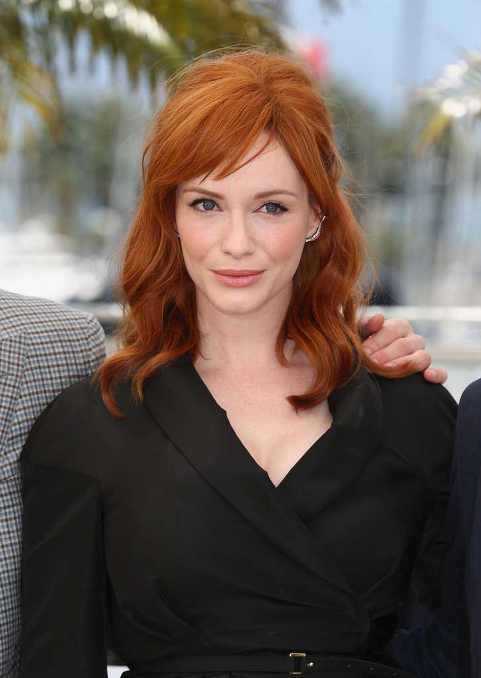 Christina Hendricks attended the Lost River photo call on day seven of the Cannes Film Festival wearing diamond Jack Vartanian ear cuffs